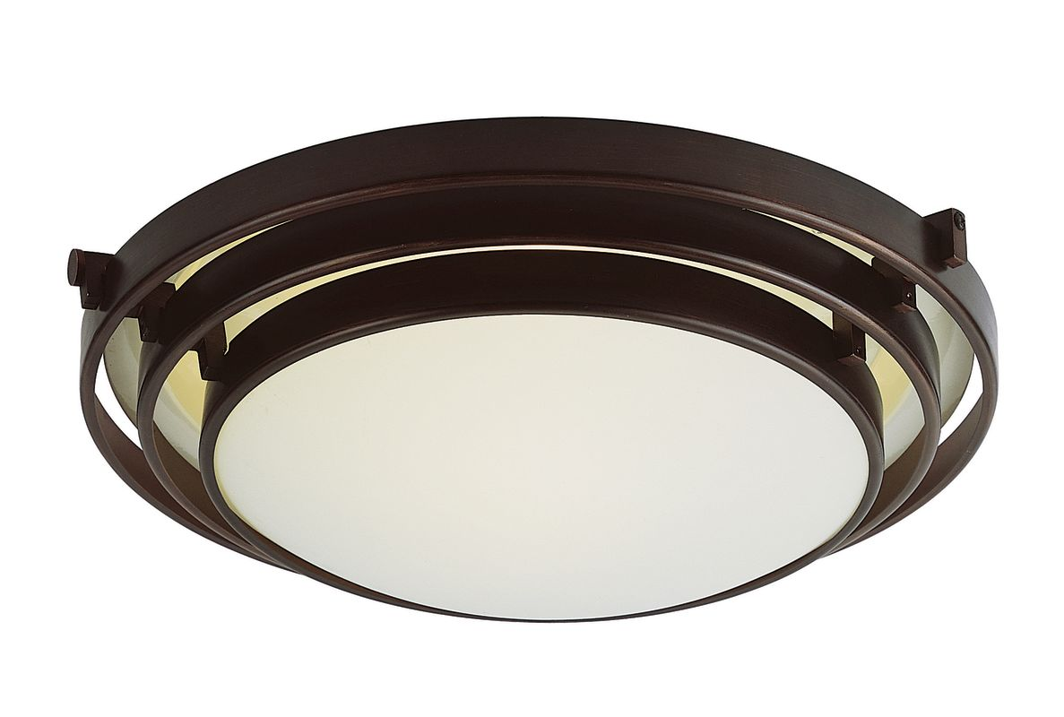 "Trans Globe Lighting PL-2483 16"" Width 2 Light Fluorescent Flush Mount"