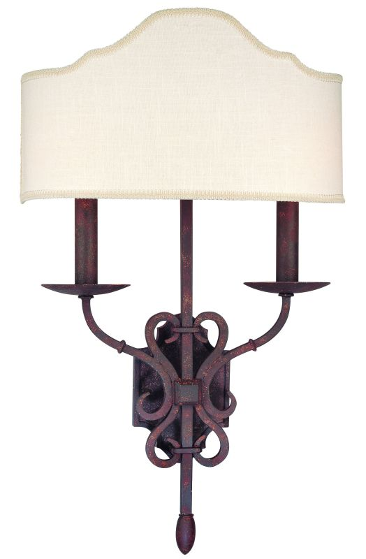 Troy Lighting B2522WI Weathered Iron Seville 2 Light Double Wall Sconce with Fabric Shade ...