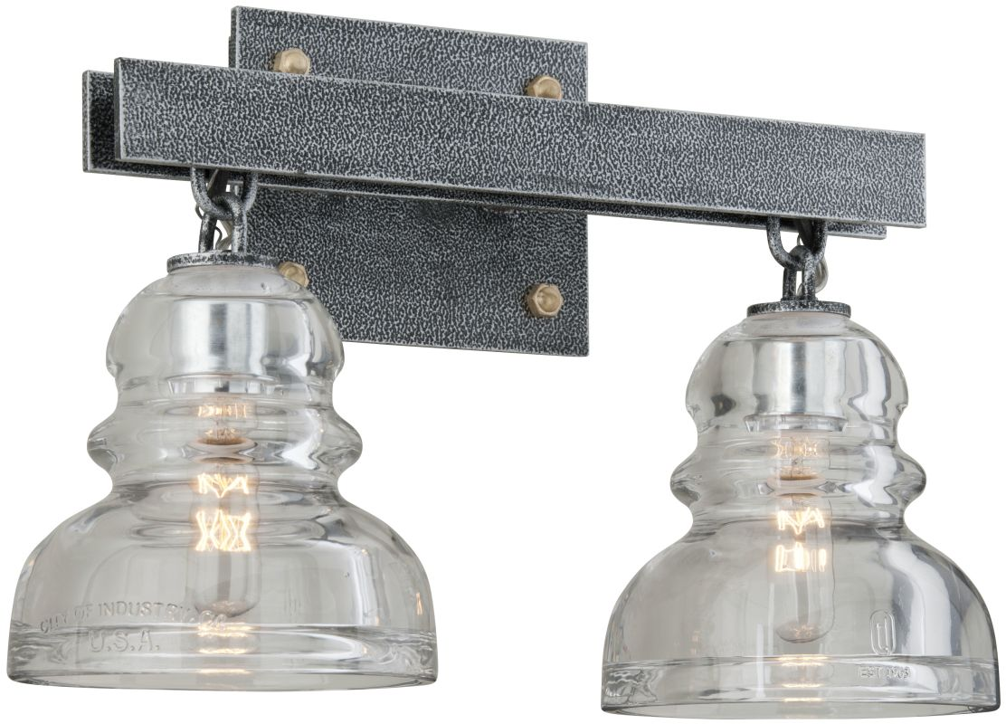 Troy Lighting B3952 Old Silver Menlo Park 2 Light Bathroom Vanity Light with Glass Insulator ...