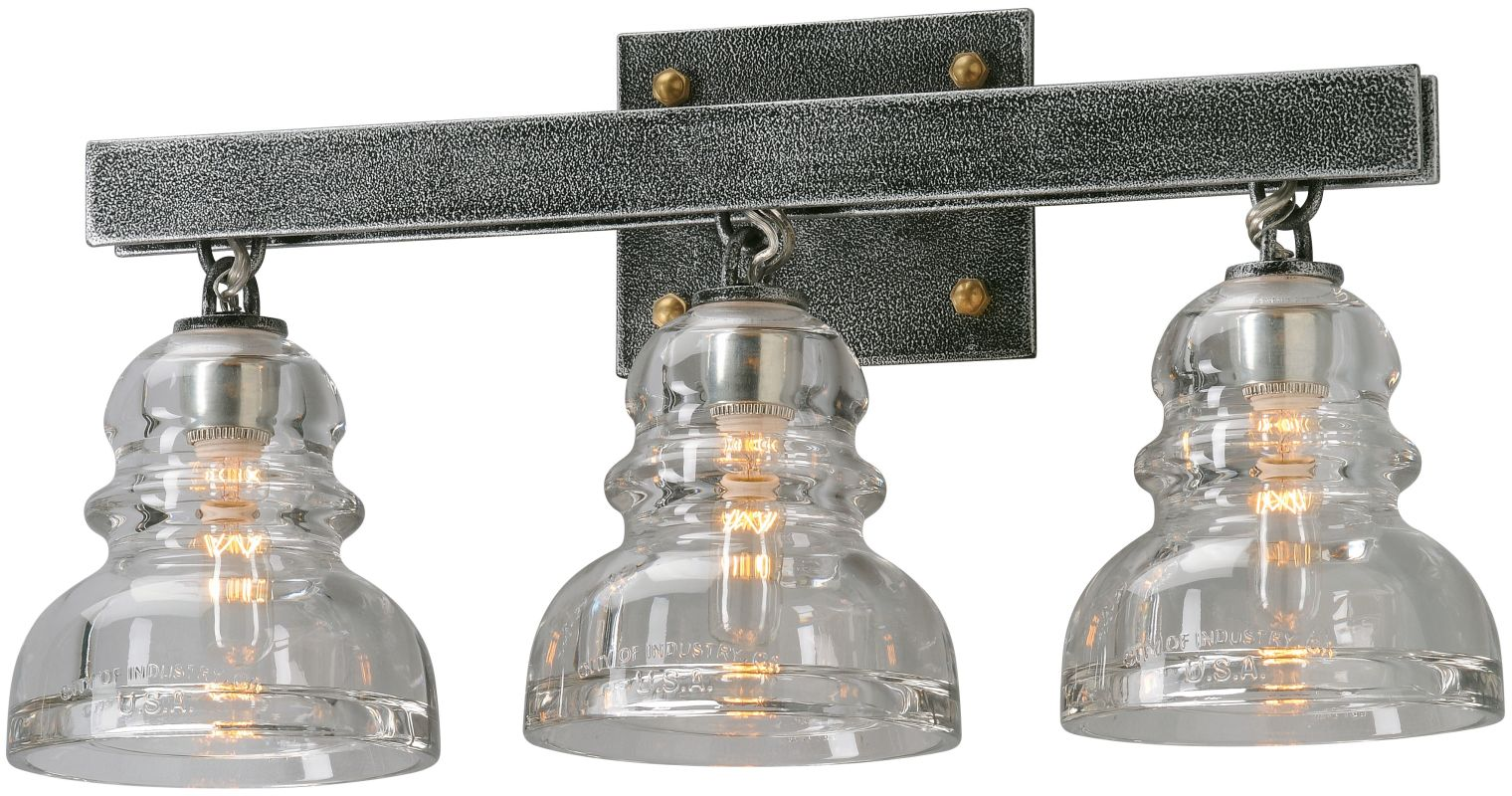 Troy Lighting B3953 Old Silver Menlo Park 3 Light Bathroom Vanity Light with Glass Insulator ...