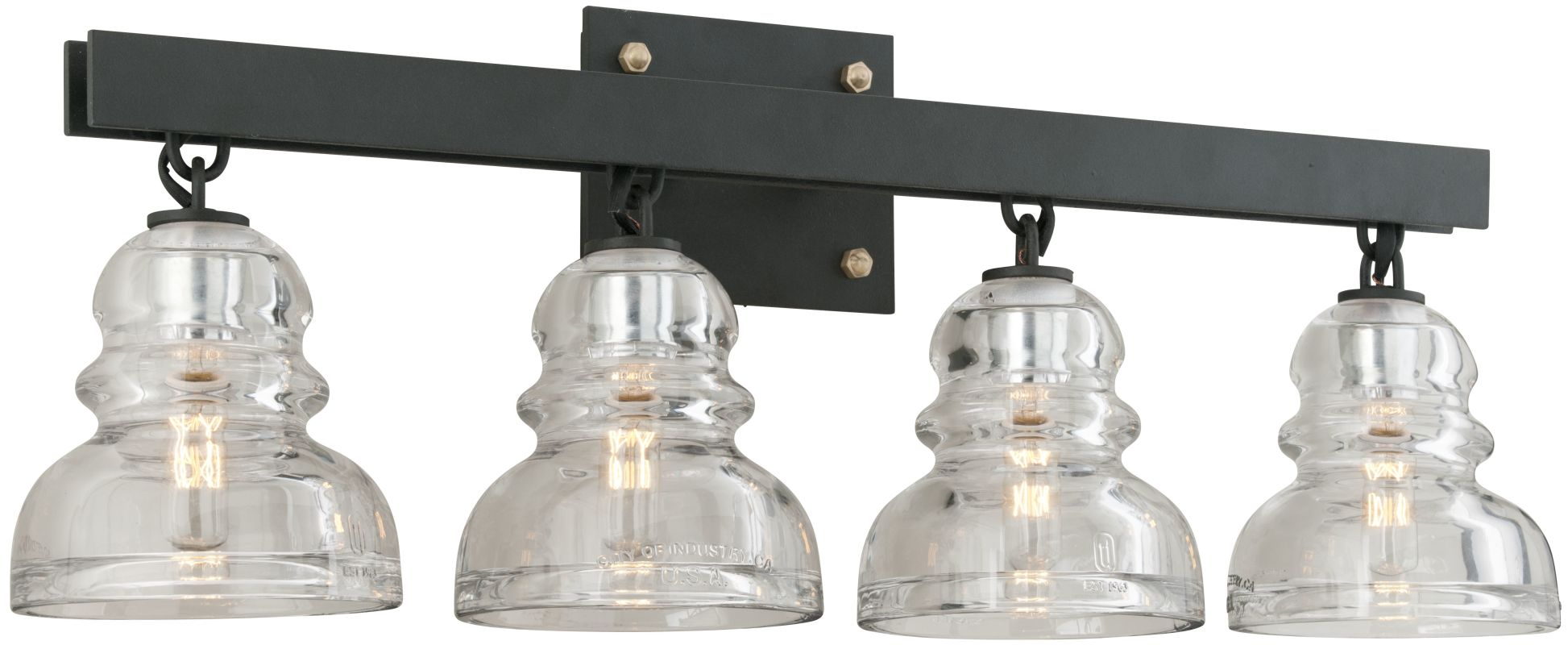Troy Lighting B3964 Deep Bronze Menlo Park 4 Light Bathroom Vanity Light with Glass Insulator ...