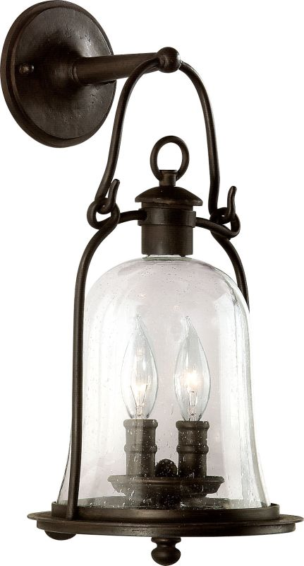 "Troy Lighting B9462 Owings Mill 2 Light Outdoor Wall Sconce with Seedy Sale $394.00 ITEM: bci526202 ID#:B9462NB UPC: 782042532625 Features: Seedy Glass Durable iron material Bulb included: No Rated for wet locations Dimensions: Height: 18.5"" Width: 8.75"" Extension: 9"" Electrical Specifications: Number of Bulbs: 2 Bulb Base: Candelabra (E12) Watts per Bulb: 60 Total Wattage: 120 Voltage: 120 About Troy Lighting: Being a Leader in an Industry requires many attributes. Our passion for quality, design, value and service lead the way. We strive to produce Interior and Exterior Lighting products that are unique in the marketplace and affordable to consumers. We use Hand-Forged Iron and Hand-Applied Finishes as the primary ingredients of our timeless pieces. We take great pride in our engineering and inspection standards to ensure that you receive a quality product that lasts for many years. :"