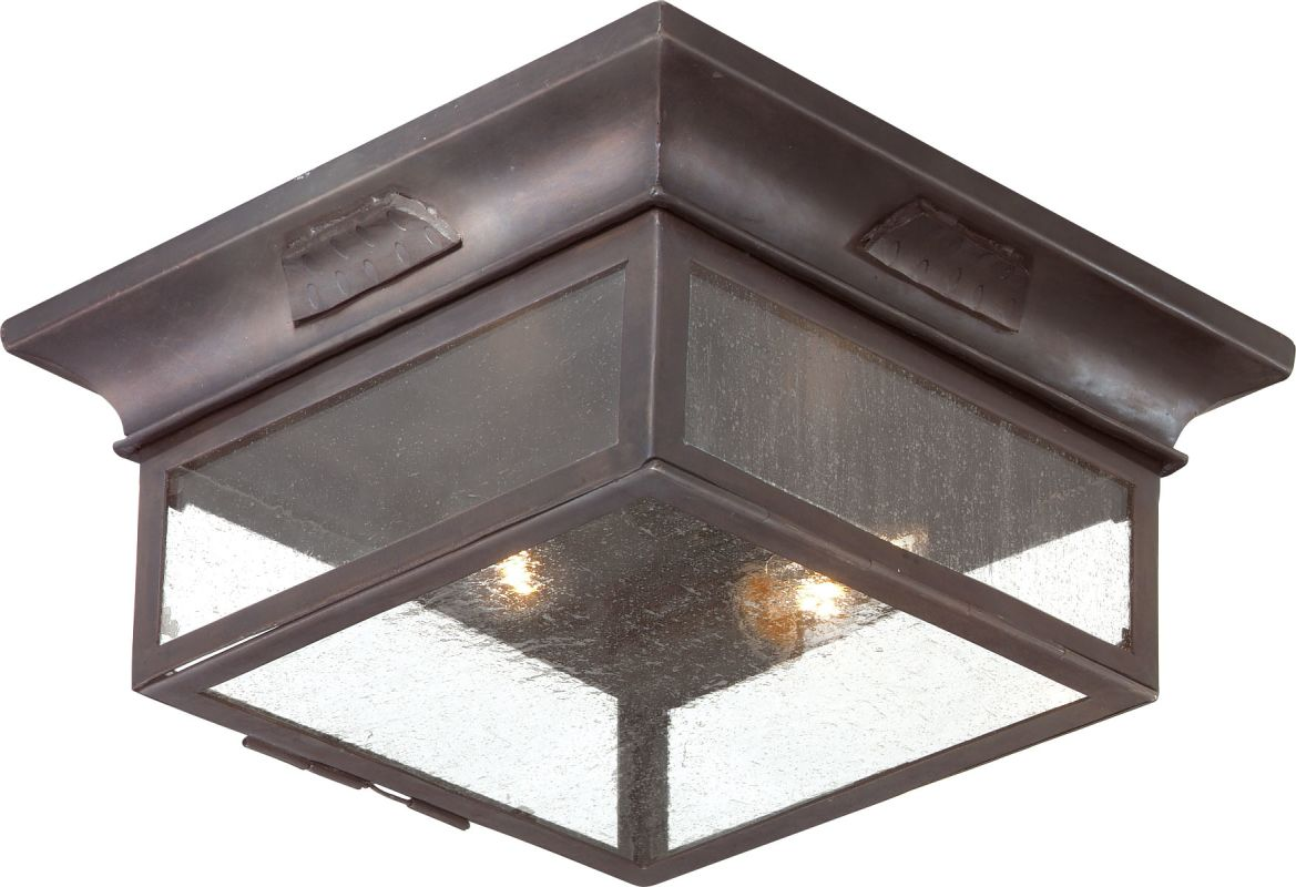 Troy Lighting Ccd9000obz Old Bronze Newton 2 Light Flush Mount Outdoor Ceiling Fixture With