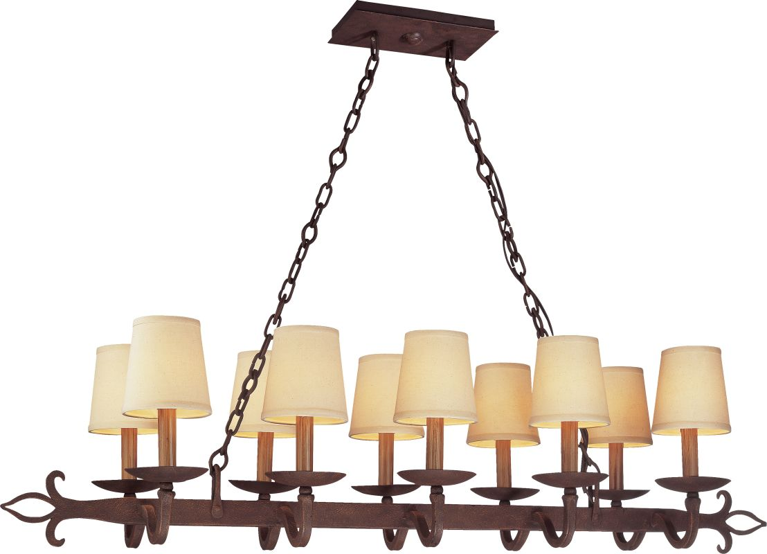 Troy Lighting F2718 Lyon 10 Light Linear Chandelier with Fabric Shades