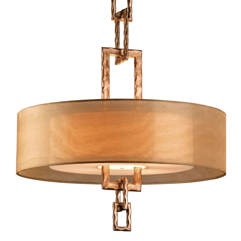 "Troy Lighting F2875 Link 4 Light 26"" Drum Chandelier with Organza"