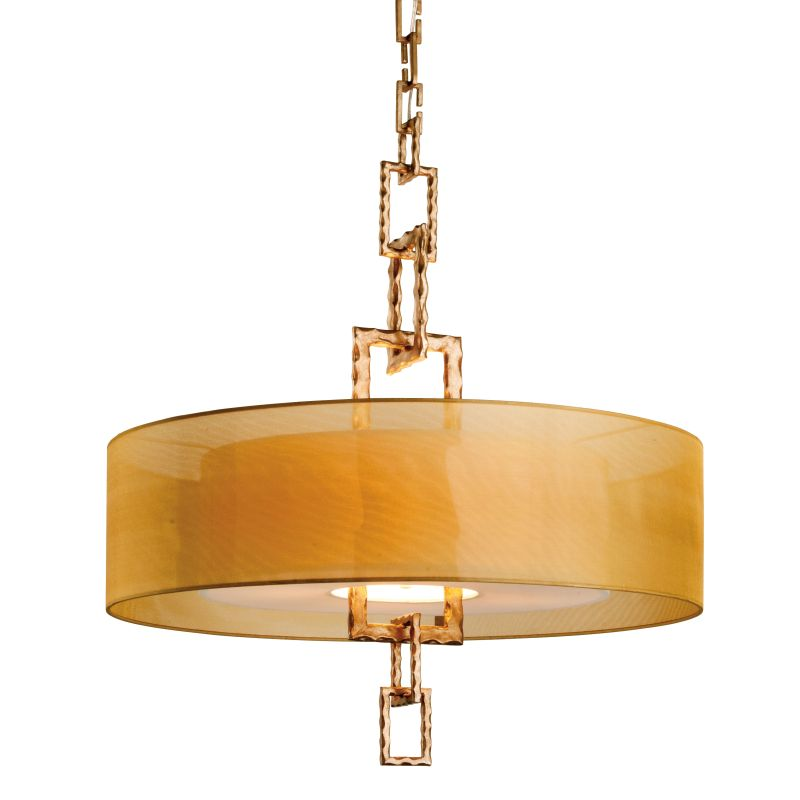 "Troy Lighting F2876 Link 4 Light 32"" Drum Pendant with Organza Shade"