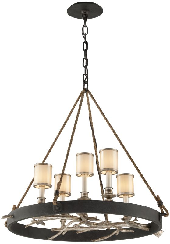 Troy Lighting F3446 Drift 5 Light Chandelier with White Pearl Glass