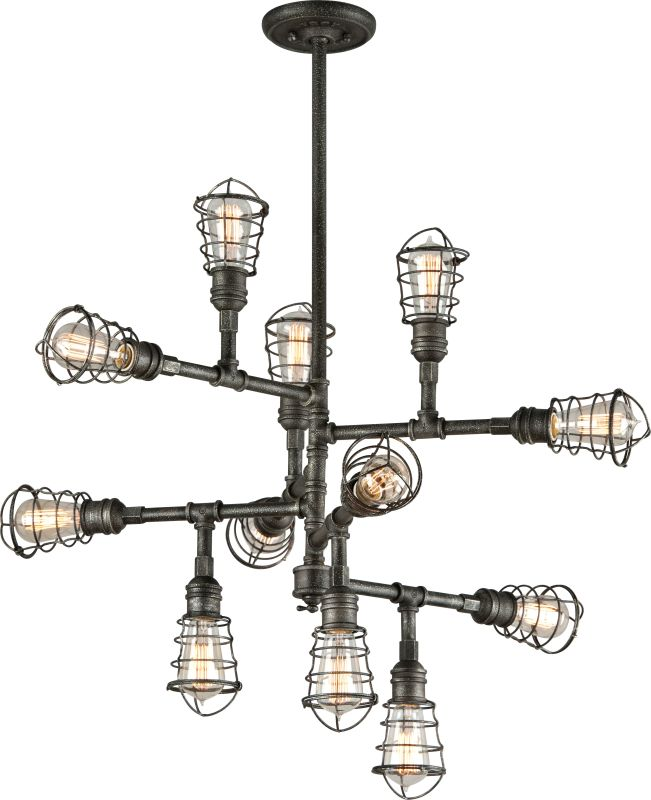 Troy Lighting F3817 Old Silver Conduit 12 Light Industrial