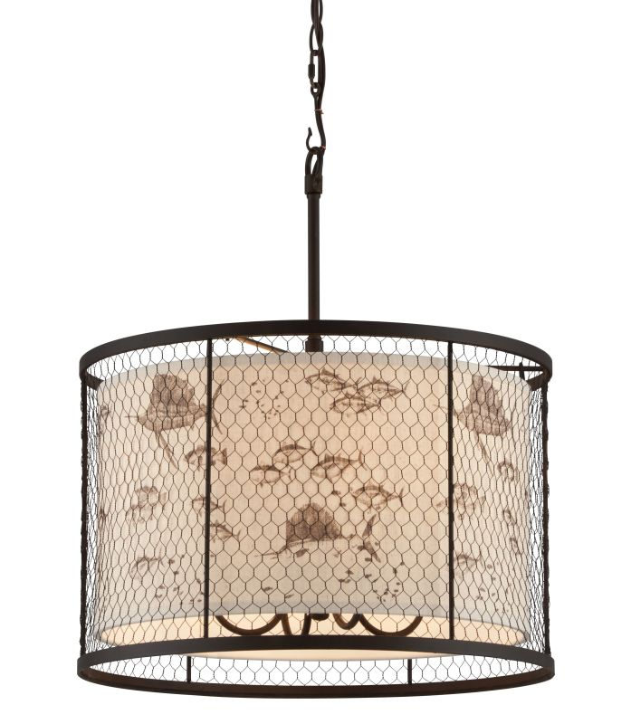 Troy Lighting F4025 Catch N Release 4 Light Pendant with Fabric Shade
