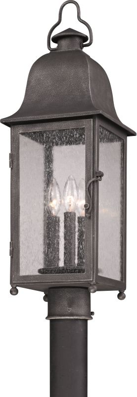 Troy Lighting P3215 Larchmont 3 Light Post Light with Seedy Glass Aged