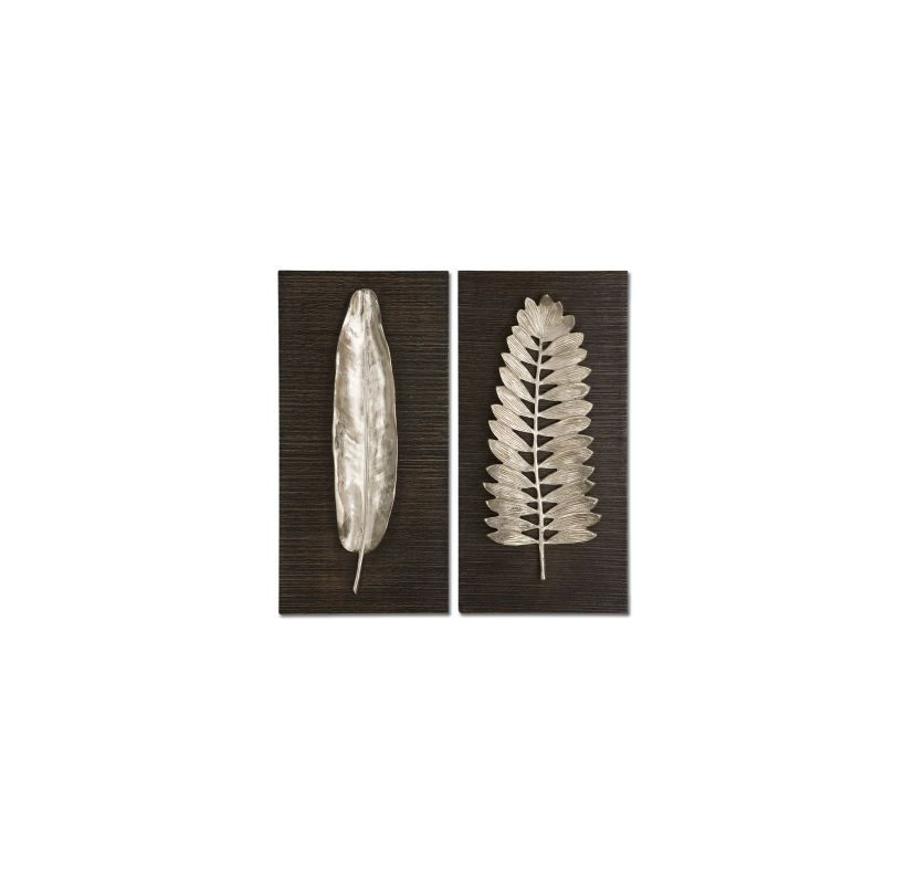 Uttermost 04001 Set of 2 Silver Leaves Wall Plaques Aluminum Brown Sale $292.60 ITEM: bci930969 ID#:4001 UPC: 792977864739 :