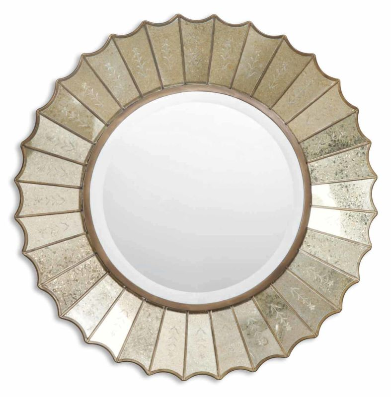 Uttermost 08028 B Amberlyn Round Beveled Mirror With Fan Edged Frame