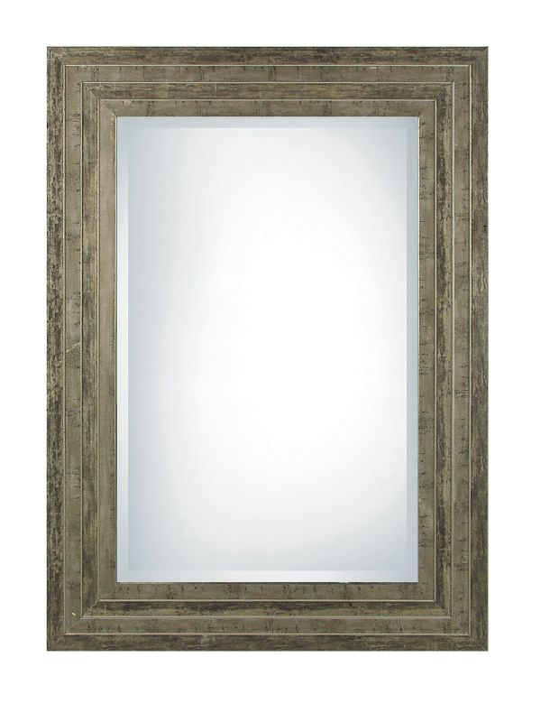Uttermost 11217 B Hallmar Beveled Mirror With Wood Frame Distressed