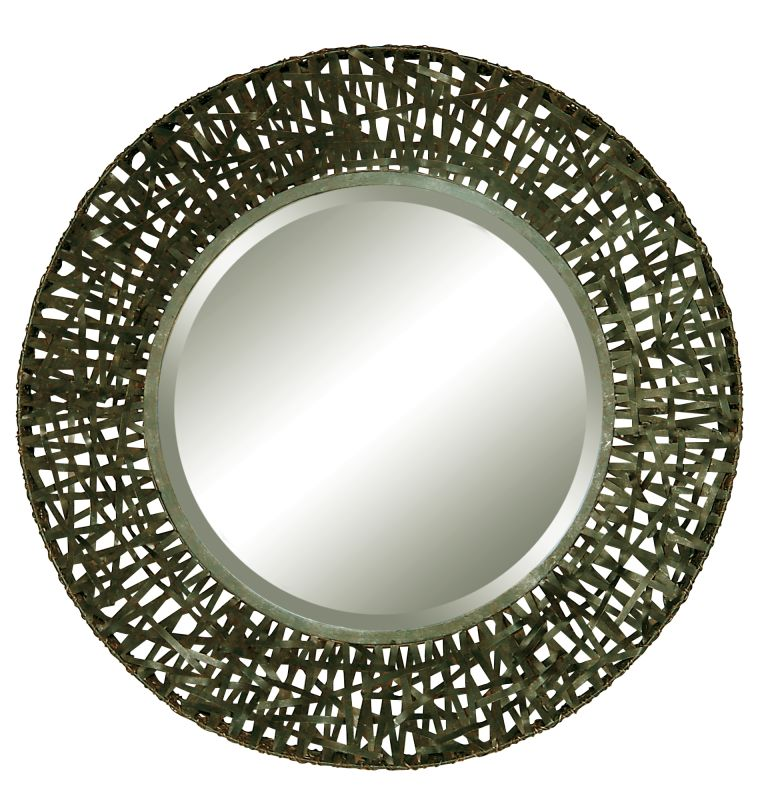 Uttermost 11587 B Alita Beveled Mirror With Woven Metal Frame Black