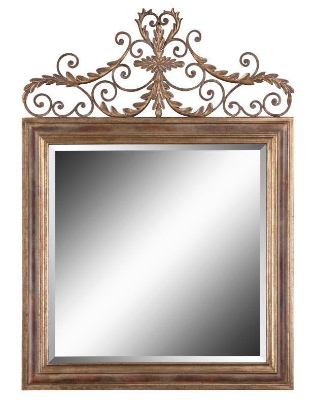 Uttermost 12631 B Valonia Beveled Mirror With Decorative Topped Frame