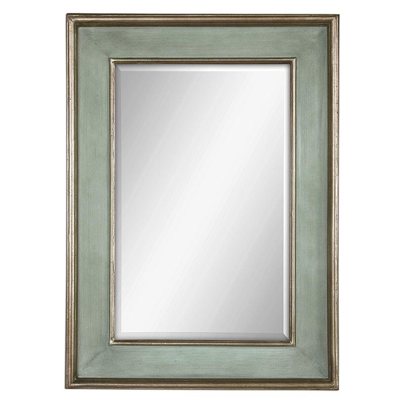 Uttermost 12640 B Ogden Blue Wood Frame Mirror Sky Blue Over Ivory
