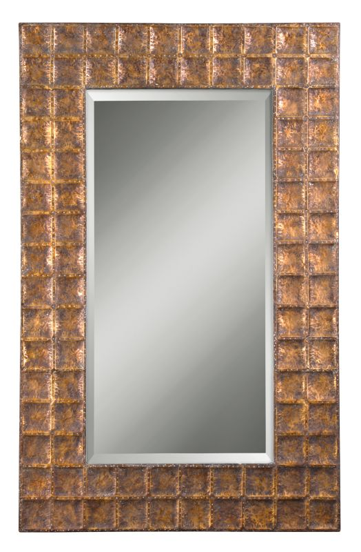 Uttermost 12643 B Gavino Beveled Mirror With Grid Hammered Metal Frame