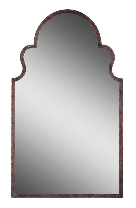 Uttermost 12668 P Brayden Arched Mirror With Metal Frame Textured Dark