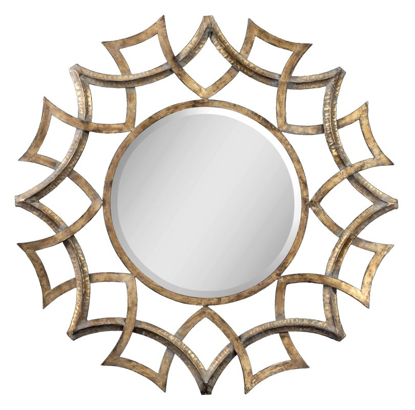 Uttermost 12730 B Demarco Round Beveled Mirror with Geometric