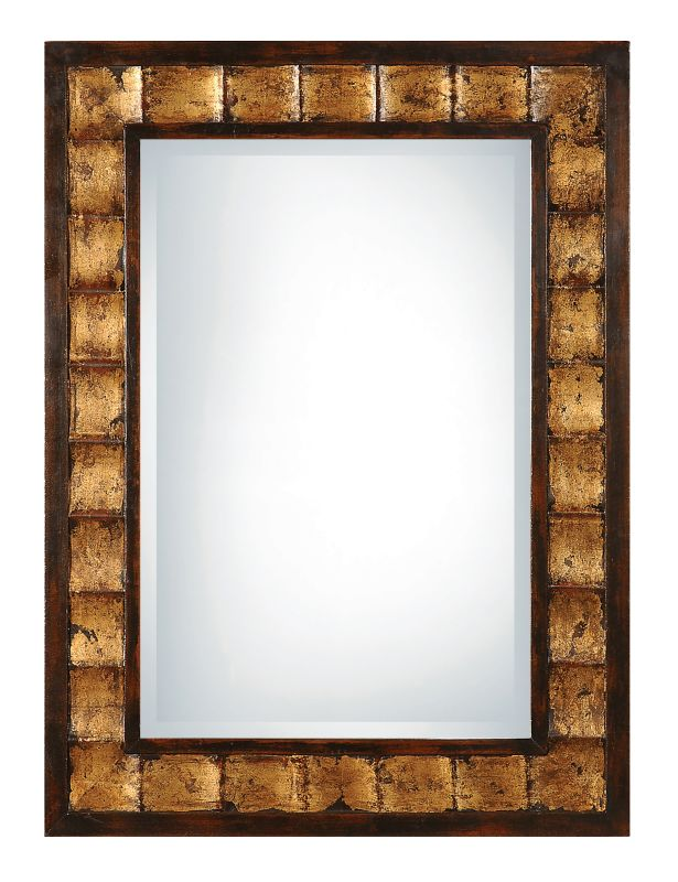 Uttermost 13294 B Justus Fluted Framed Mirror Distressed Mahogany With