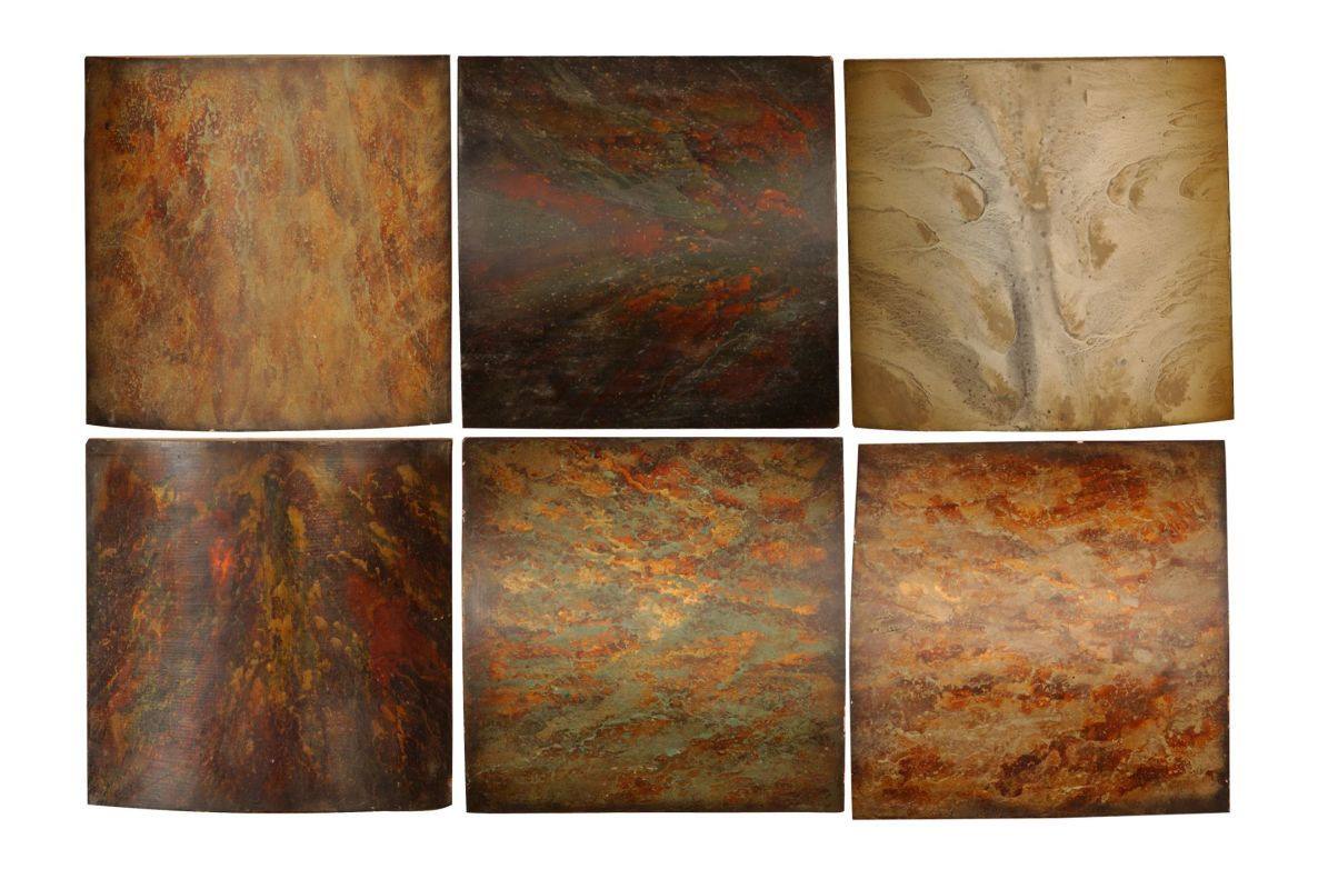 Uttermost 13355 Klum Wooden Collage 6 Piece Wall Art Rust Yellow