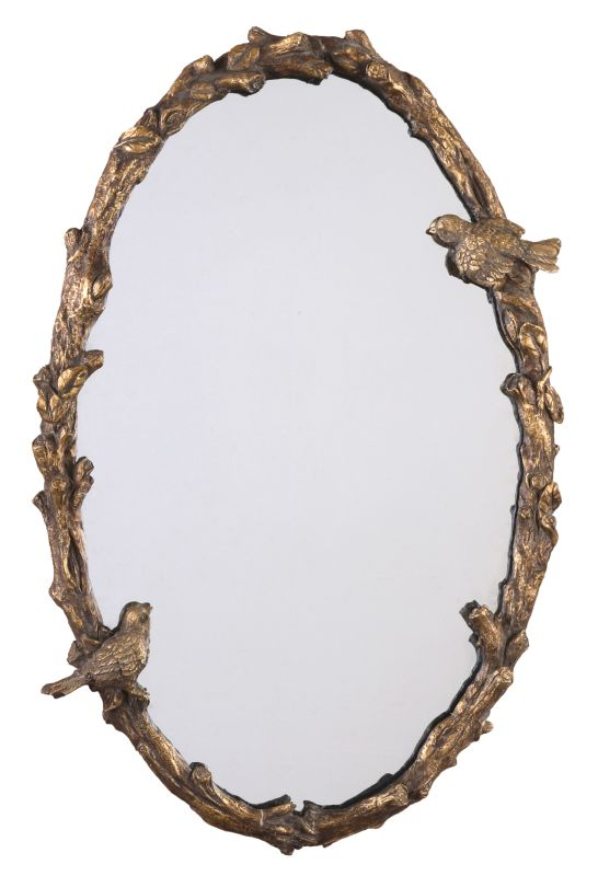 Uttermost 13575 P Paza Oval Mirror with Bird and Vine Detail Frame