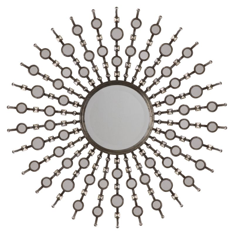 Uttermost 13581 B Kimani Starburst Mirror Antiqued Silver Leaf Home