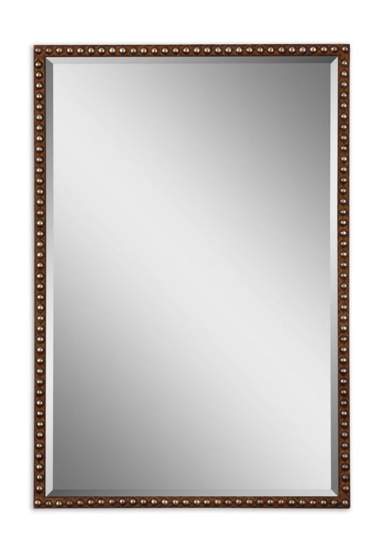 Uttermost 13749 Tempe Rectangle Beveled Mirror Distressed Rusty Brown