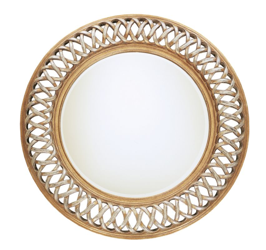 Uttermost 14028 B Entwined Round Mirror With Woven Look Frame Antique