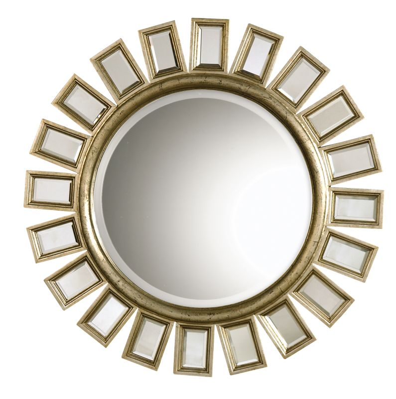 "Uttermost 14076 B Cyrus Round Mirror With ""Spokes"" Mirrored Framed"