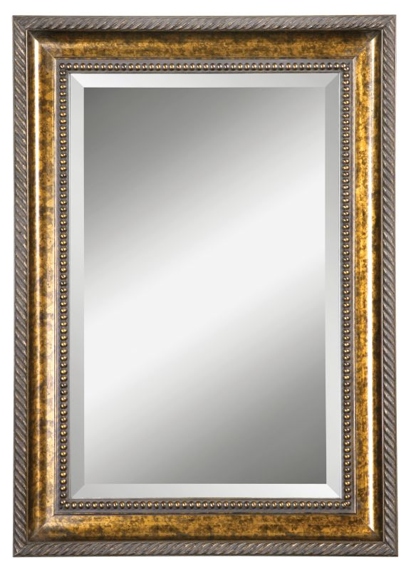 Uttermost 14157 B Sinatra Vanity Beveled Mirror Brown Stain With Gold