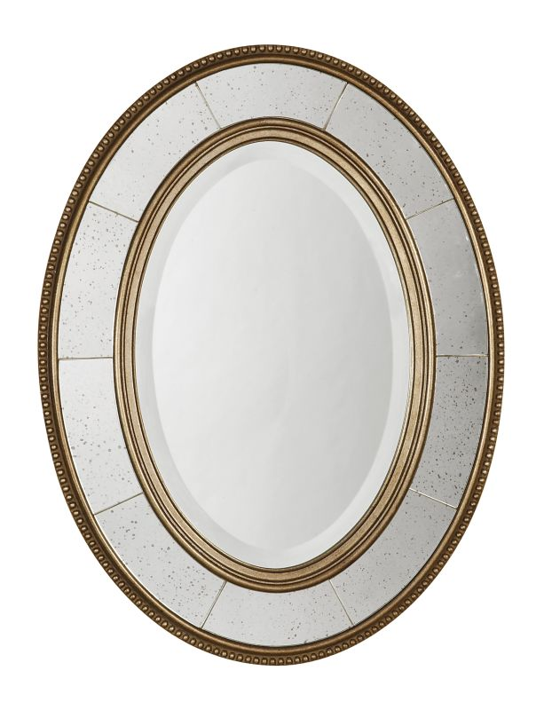 Uttermost 14511 B Lara Oval Beveled Mirror With Mirror Sectioned Frame