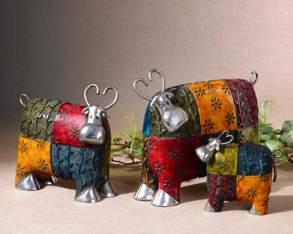 Uttermost 19058 Set of 3Colorful and Whimsical Cows Accessories with