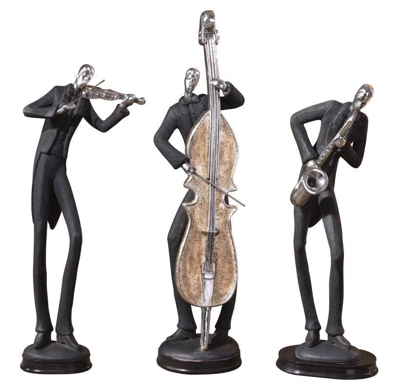 Uttermost 19061 Musicians Set of 3 Figurines Playing Saxophone Violin