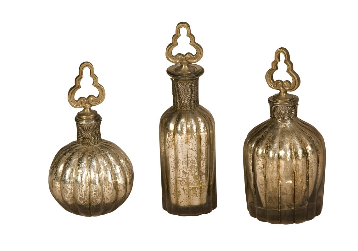 Uttermost 19141 Kaho Set of 3 Glass Perfume Bottles with Brass Wire