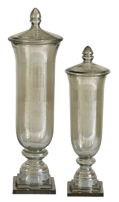 Uttermost 19148 Gille Set of 2 Glass Containers Transparent Green Home