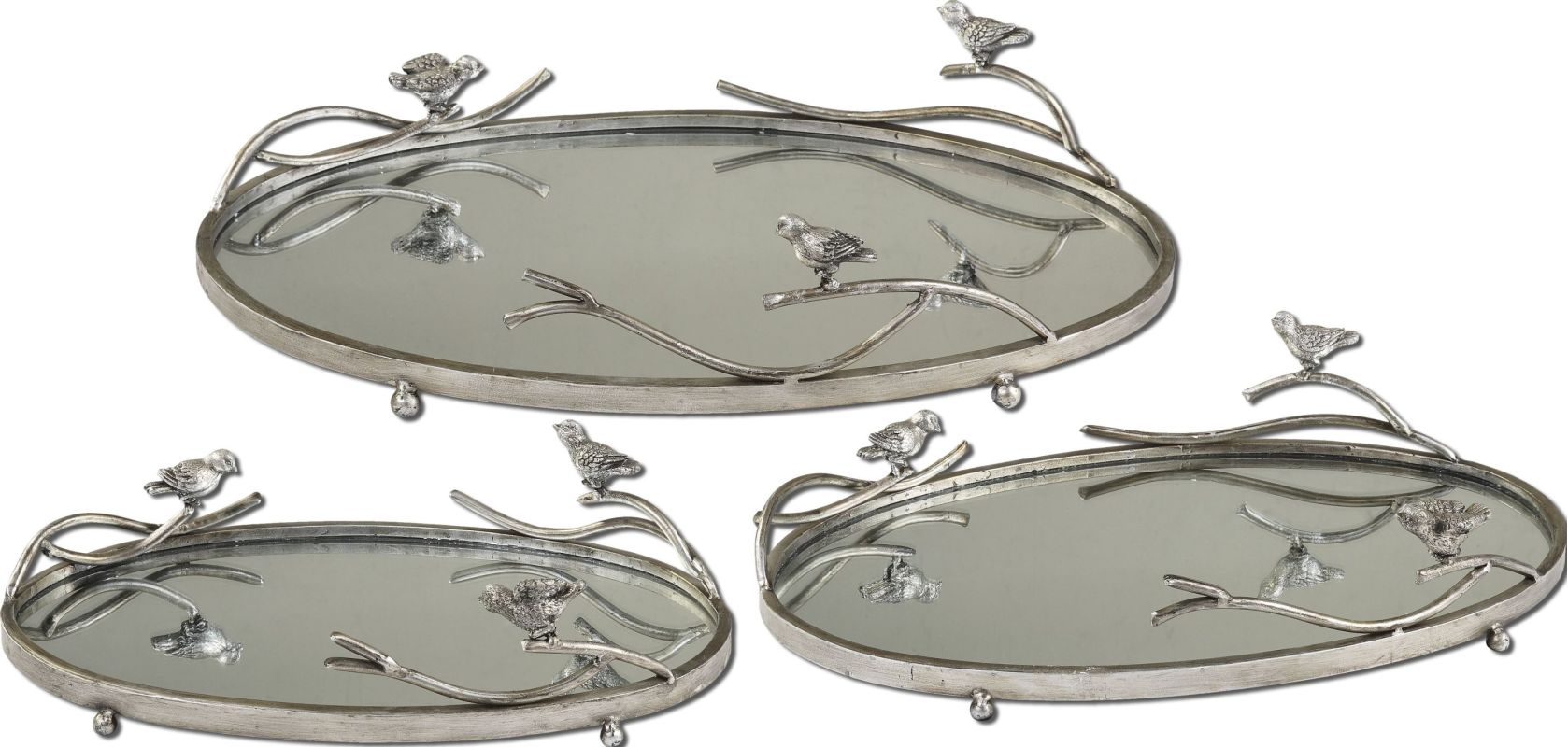 Uttermost 19710 Birds On A Limb Trays Antique Silver Leaf Home Decor
