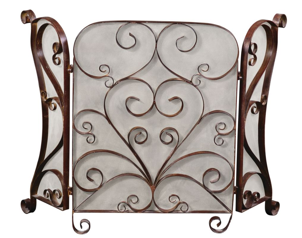 Uttermost 20278 Daymeion Hand Forged Metal Fireplace Screen Lightly