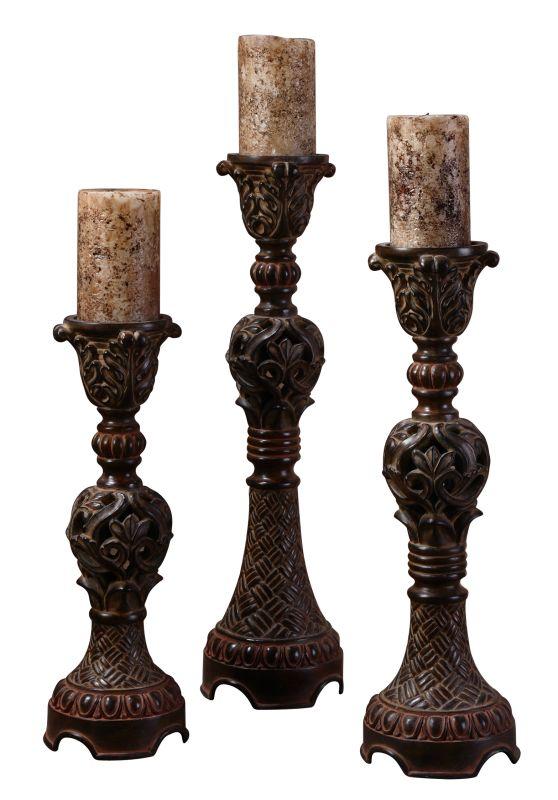Uttermost 20312 Rosina Set of 3 Intricately Carved Candlesticks