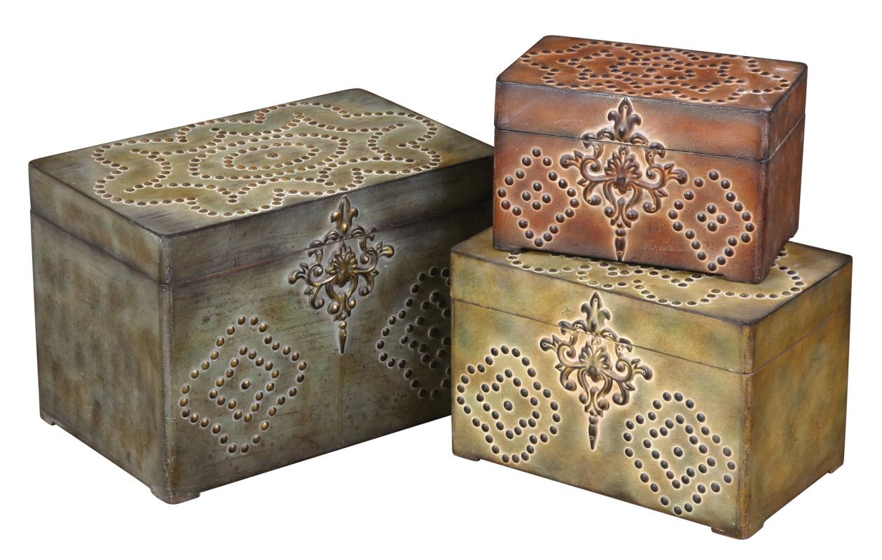 Uttermost 20394 Hobnail Boxes Set of 3 Weathered Reds Mossy Greens Sale $217.80 ITEM: bci821984 ID#:20394 UPC: 792977203941 :