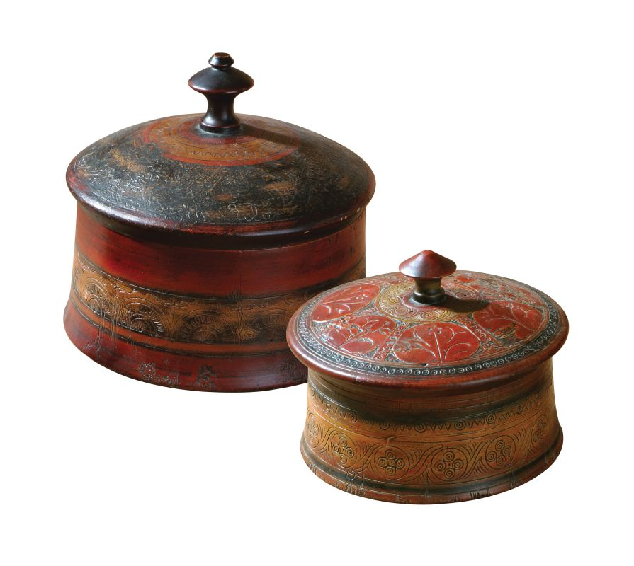 Uttermost 20800 Sherpa Set of 2 Etched Detail Boxes Multi Home Decor