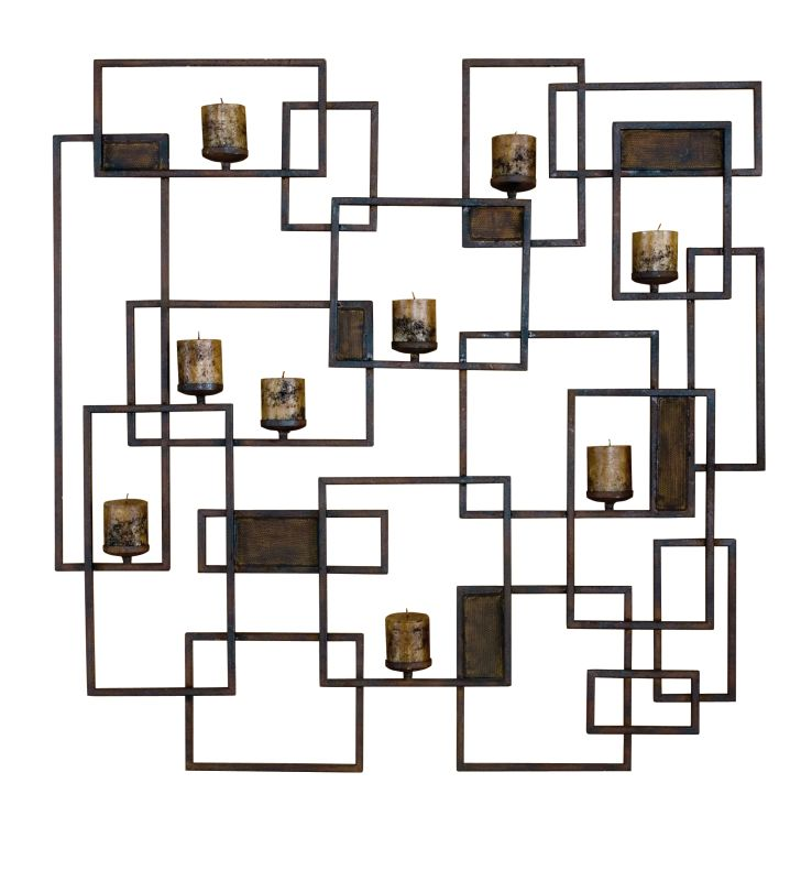 Uttermost 20850 Siam Candle Light Wall Sculpture Rust Brown Home Decor