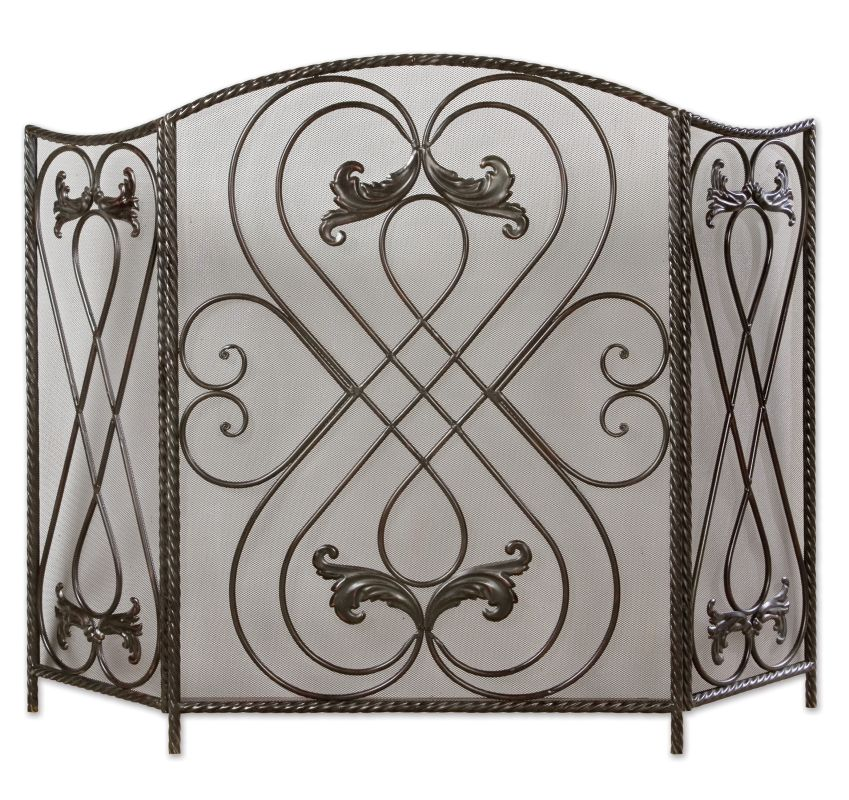 Uttermost 20960 Effie Large Scroll Design Fireplace Screen Aged Black