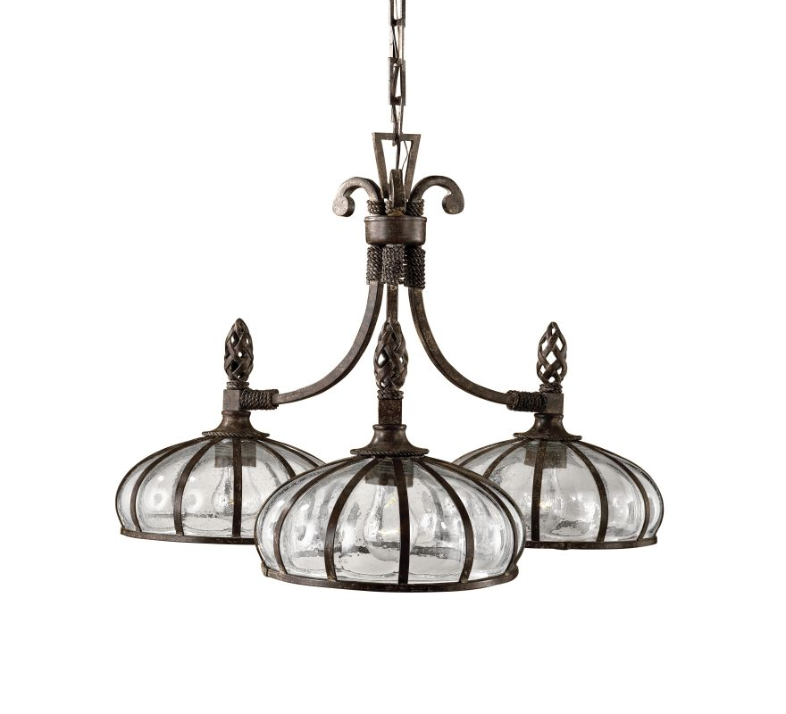 Uttermost 21046 Galeana 3 Light Single Tier Chandelier Antique Saddle