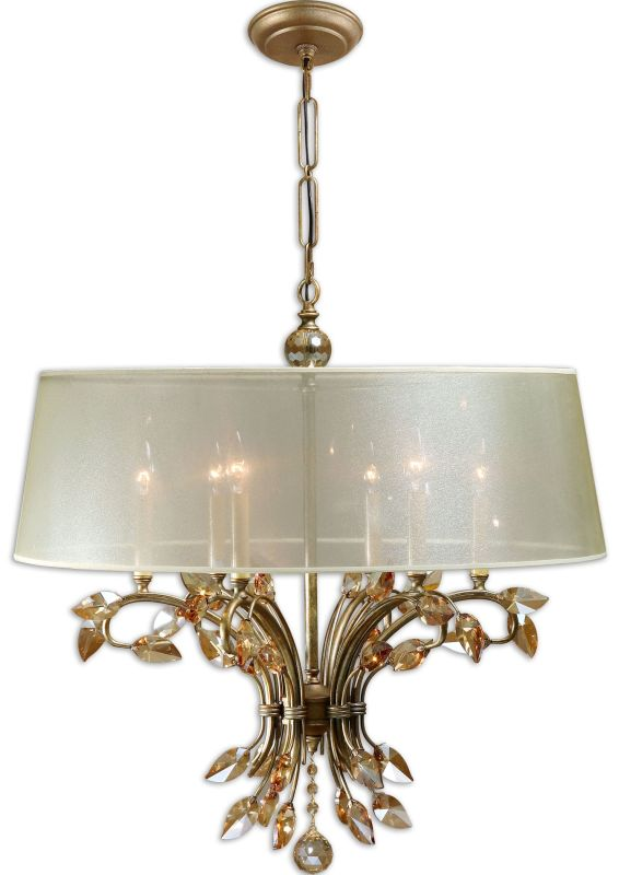 Uttermost 21246 Alenya 6 Light Single Tier Chandelier Burnished Gold