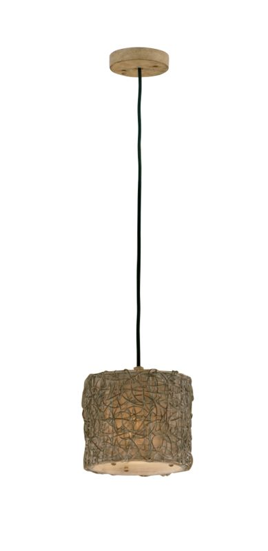 Uttermost 21837 Knotted Rattan Ivory Single Light Mini Hanging Shade