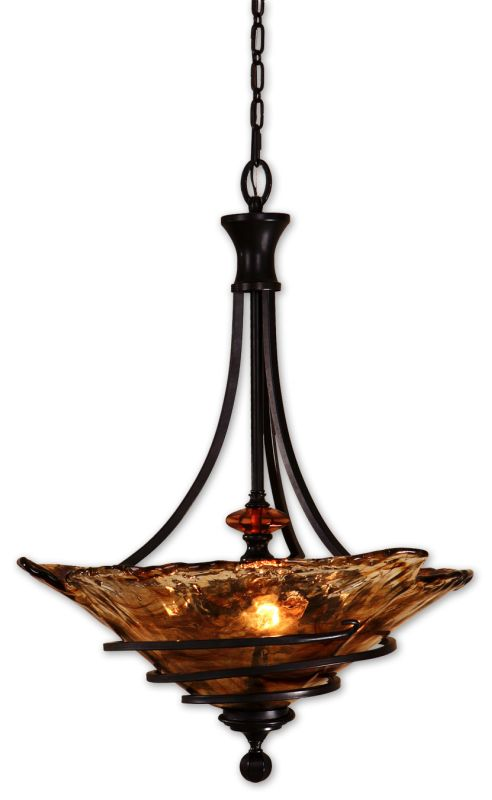 Uttermost 21904 3 Light Bowl Pendant from the Vitalia Collection Oil