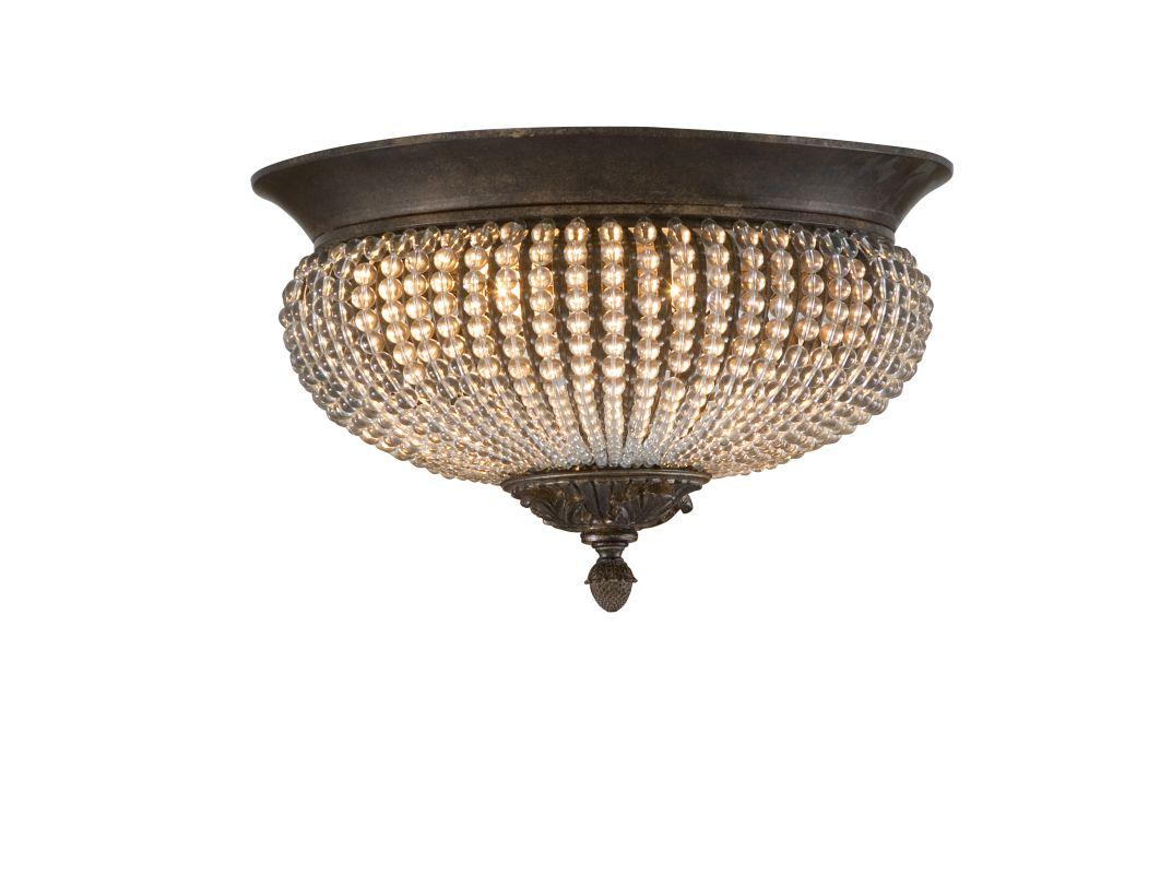 Uttermost Two Golden Bronze Two Light Flushmount Ceiling Fixture From The Cristal De Lisbon