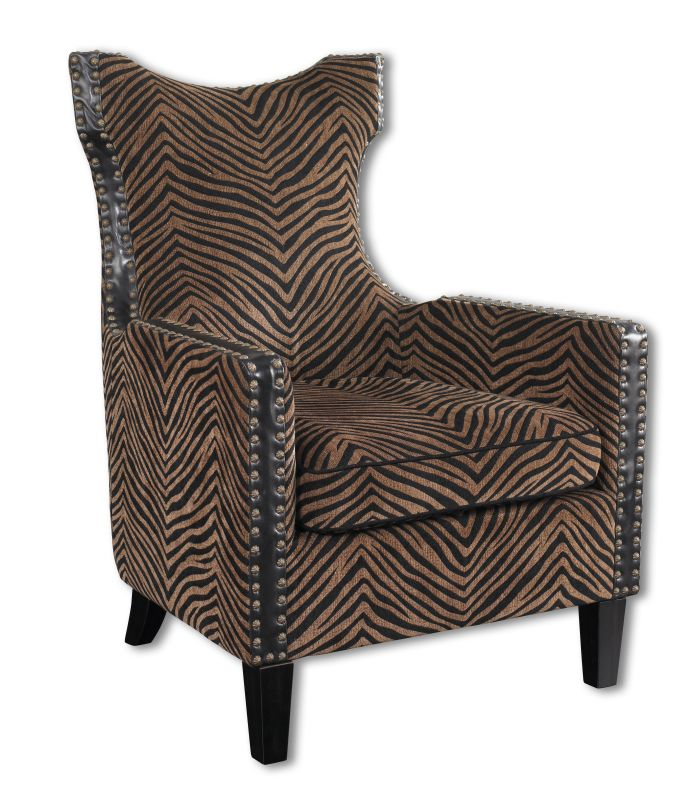 Uttermost 23003 Kimoni Contemporary Shaped Back Armchair Plush Golden