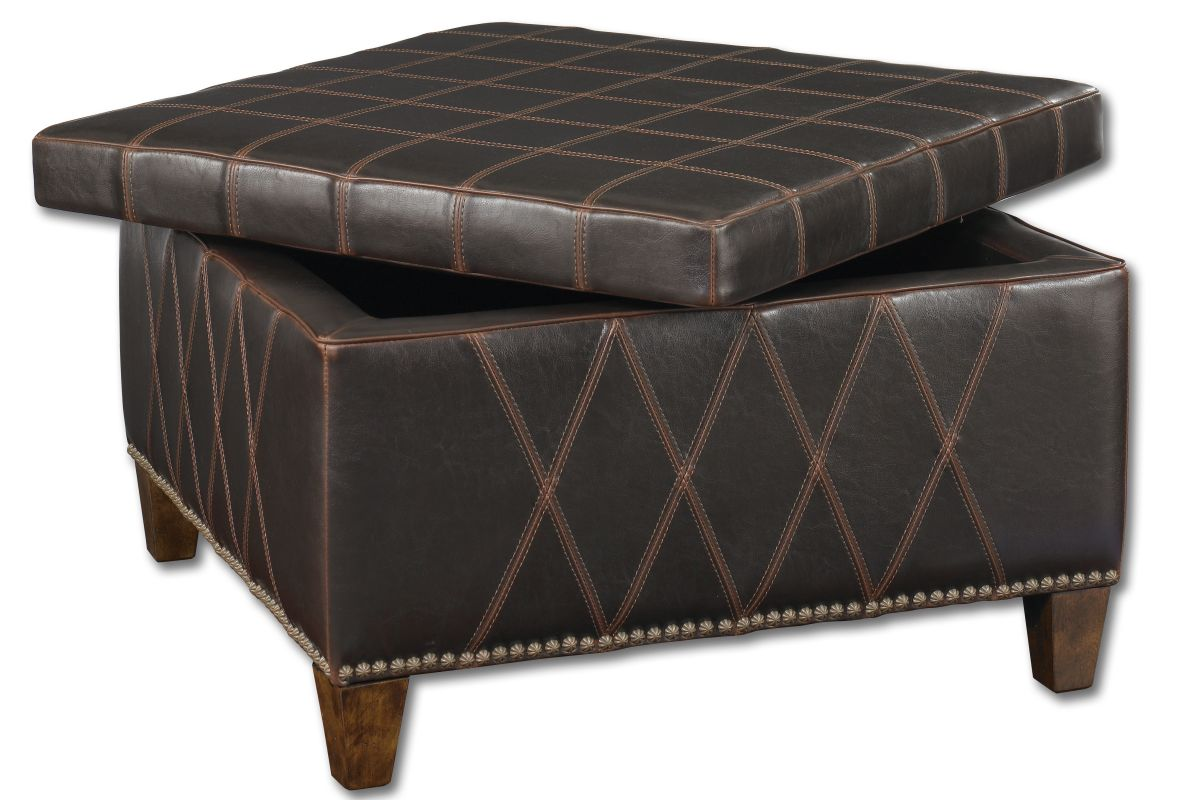 Uttermost 23005 Wattley Storage Ottoman with Double Stitching Detail
